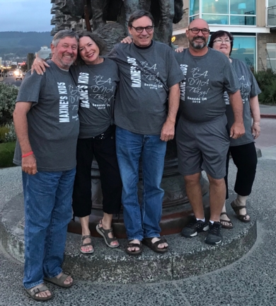 Dennis LaVoy, Rita Glueckert, Joe Glueckert, Ray Glueckert, Sandy Pimperton (a cousin who was instrumental in connecting the family dots).  Shirts read: Maxine's Kids - It's a DNA Thing! Seaside, Or 2018